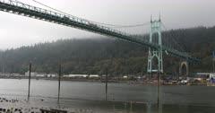 View of St. Johns Bridge in Portland, Oregon 4K