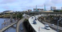 Portland, Oregon expressway by the Willamette River 4K