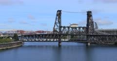 Portland, Oregon bridges over the Willamette River 4K