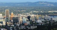 Portland, Oregon city center in the evening 4K