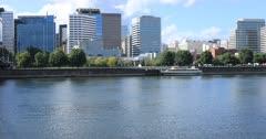 Portland, Oregon skyline across the Willamette River 4K