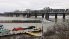 Timelapse Mississippi River barge at Memphis 4K