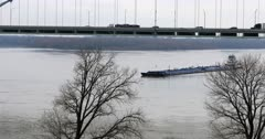 Scene of Mississippi River barge by Memphis, Tennessee 4K
