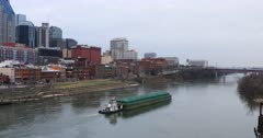 Barge passes Nashville, Tennessee downtown 4K