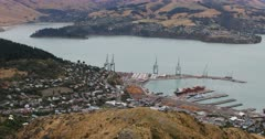 Aerial of Lyttelton, New Zealand by Christchurch 4K