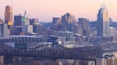 Timelapse day to night of Cincinnati, Ohio, United States, looping 4K
