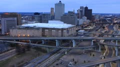 Looping day to night timelapse of Memphis, Tennessee, United States 4K