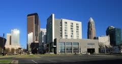 Charlotte, North Carolina skyline on clear day 4K