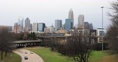 Charlotte, North Carolina skyline with expressway 4K