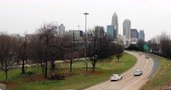 Charlotte, North Carolina city center with expressway 4K