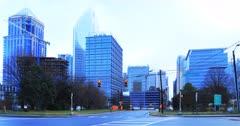 Charlotte, North Carolina skyline on misty morning 4K