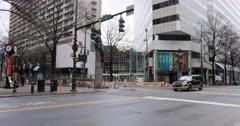 Street view in downtown Charlotte, North Carolina 4K