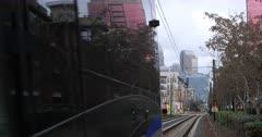 Rapid Transit leaving a station in Charlotte, North Carolina 4K