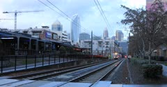 Rapid Transit arriving in station in Charlotte, North Carolina 4K