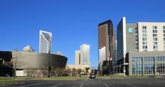 Street view in city center Charlotte, North Carolina 4K