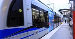 Rapid Transit leaving station in Charlotte, North Carolina 4K
