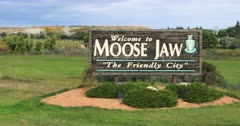 Welcome sign in Moose Jaw, Saskatchewan, Canada 4K