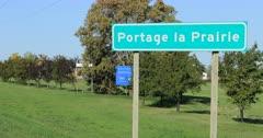 Portage La Prairie, Manitoba, Canada welcome sign 4K