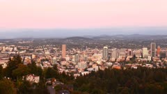 Timelapse day to night of Portland, Oregon, United States, looping 4K
