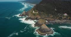 Aerial Drone Shot of Southern Oregon Rocky Coastline near Heceta Point Lighthouse