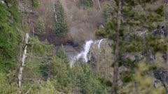 Waterfall wind blowing water away - Slow Motion