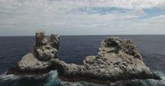 Aerial shots of roca partida rock, revillagigedo archipelago, Mexican pacific.