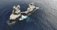 Aerial shots of roca partida rock, revillagigedo archipelago, Mexican pacific.