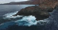 Aerial views of Cabo Pierce, in isla Socorro, Revillagigedo Archipelago. Mexican Pacific.
