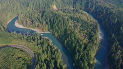 Aerial view of hoh river oxbow area