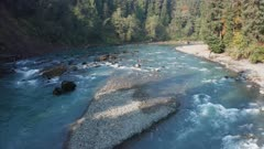 Aerial view,flying low upriver hoh river