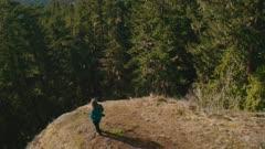 aerial vertical pan, Greywolf River valley, Olympic Peninsula