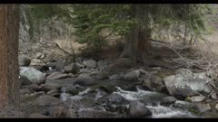 Wide Shot of Bear Creek slow motion Bear Creek Jardine Montana on Yellowstone NP border