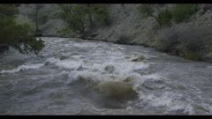 Gardner River right above river looking downriver spring runoff flood stage slow motion