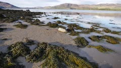 Establishing shot of Loch Fleet in the Scottish Highlands of Sutherland Scotland UK