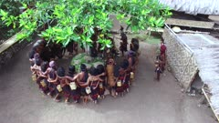 Aerial vew of Abui tribe dancing in a circle