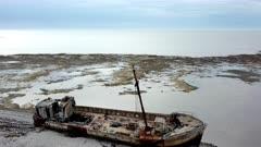 Aerial towards and over wreck of the Calou, Anticosti Island, Quebec