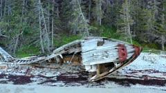 Wreck of the ship Wilcox on beach, Anticosti Island