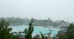 Violent Hurricane Eye Wall Wind And Rain Lashes Tropical Resort