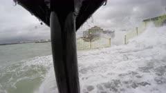 Large Hurricane Storm Surge Waves Knock Camera Over