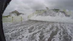 Hurricane Storm Surge Waves Flood City Waterfront