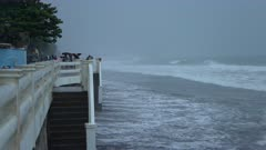 Storm Tide And Rough Sea Hits Beach