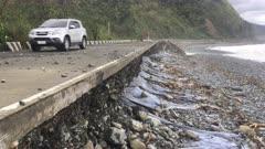 Extreme Storm Surge Erosion To Coastal Road