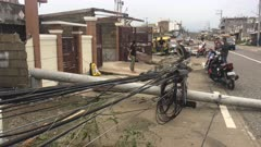 Destroyed Power Lines After Hurricane Winds Hit Town
