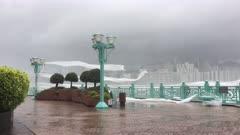 Strong Hurricane Winds Blow Debris Through Air