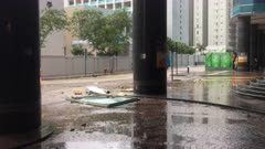Smashed Debris Lies On Street As Hurricane Hits City