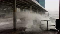 Hurricane Storm Surge Waves And Wind Lash City Sea Wall