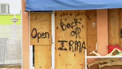 Hurricane Irma Business Boarded Up With Graffiti