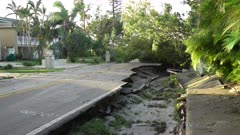 Hurricane Irma Aftermath Road Washed Out By Flood Waters
