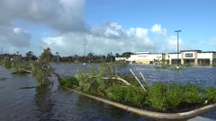 Hurricane Irma Aftermath Flooded Parking Lot In Naples Florida