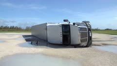 Hurricane Irma Aftermath Truck Blown Over By Powerful Wind